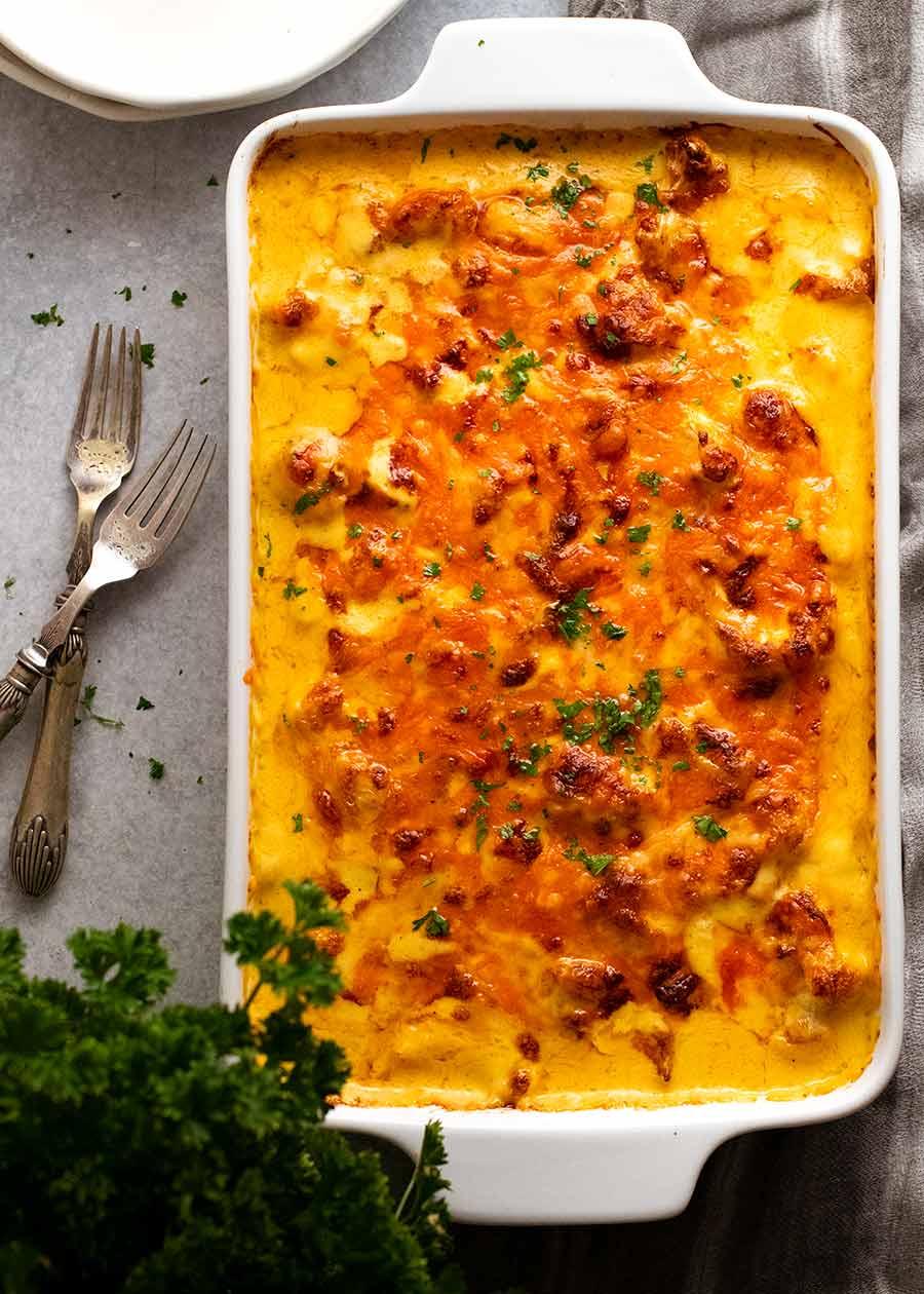 Dish of freshly baked Cauliflower Cheese
