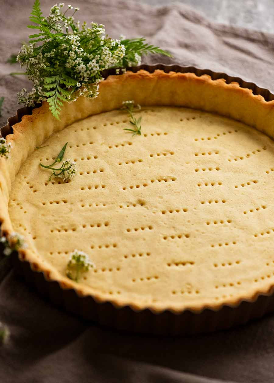 Freshly baked Sweet Tart Crust (Sweet Pastry) - French Pate Sucree - empty, ready to be filled