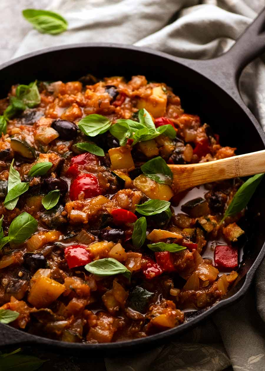 Skillet filled with French Provencal Ratatouille freshly made off the stove