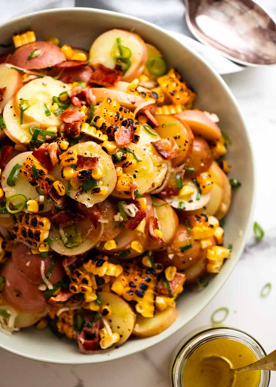 Overhead photo of Red Potato Salad with Bacon and Corn