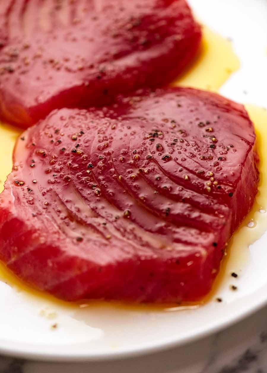 Tuna Steak seasoned, ready for cooking