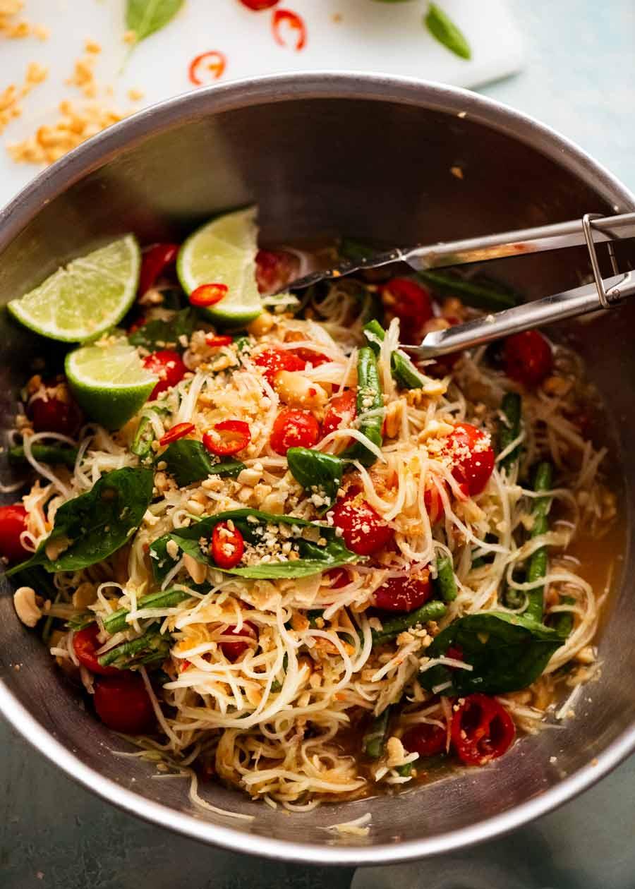 Bowl of Green Papaya Salad (Thai)
