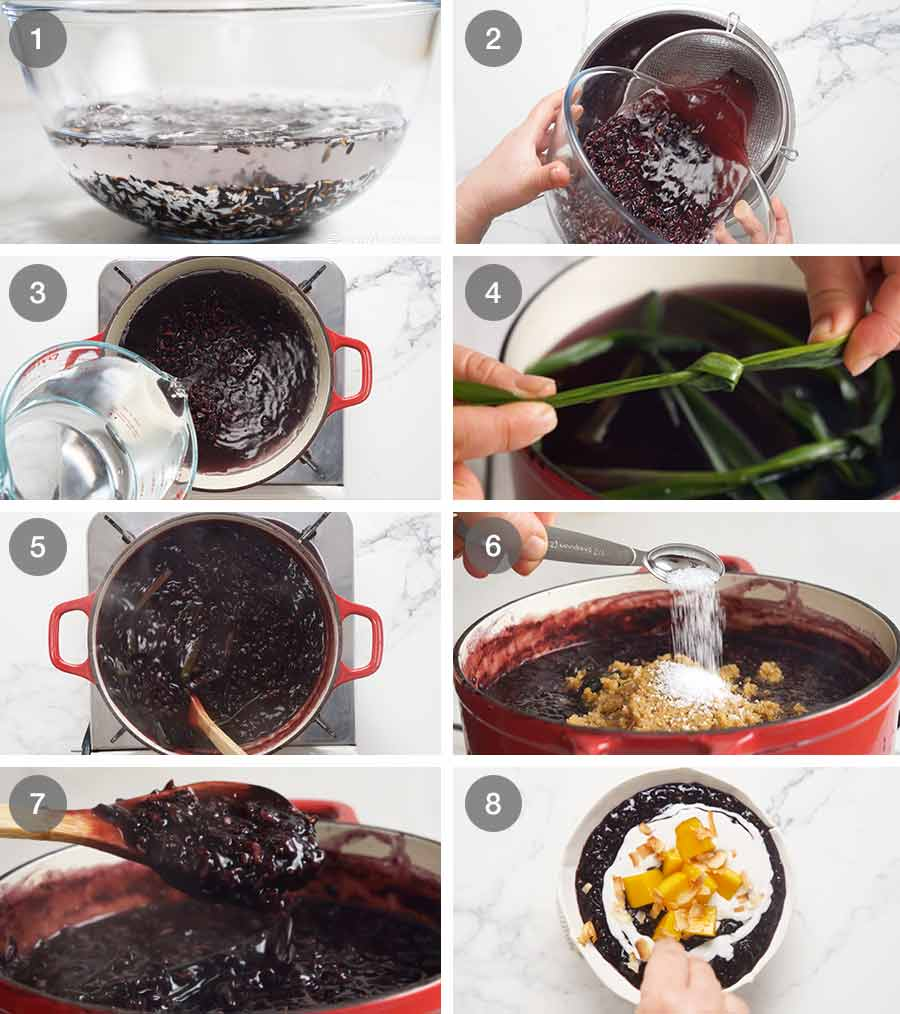 How to make Thai Black Sticky Rice Pudding