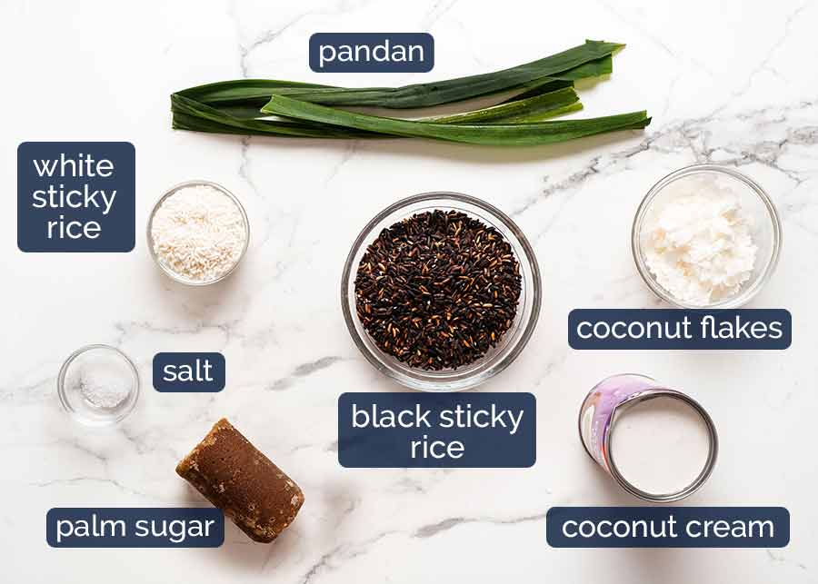 Ingredients for Thai Black Sticky Rice Pudding