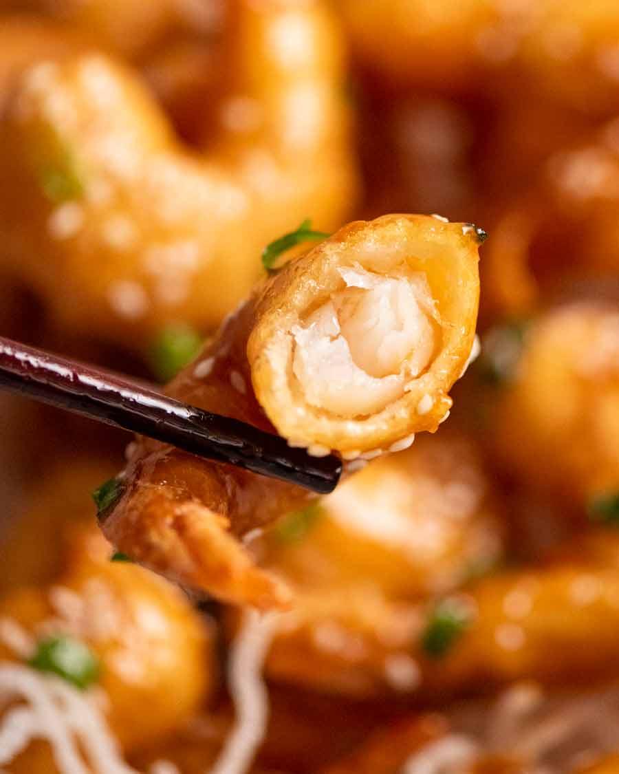 Close up showing inside of Honey Prawns