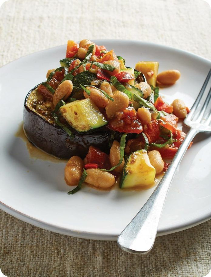 WHITE BEAN RATATOUILLE OVER ROASTED EGGPLANT
