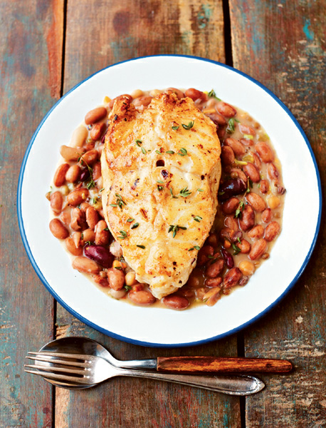 PINTO BEANS WITH COD & THYME