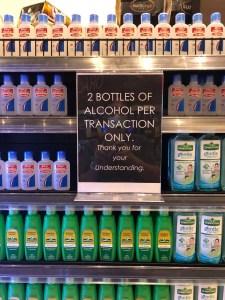 limit 2 bottles hygiene alcohol