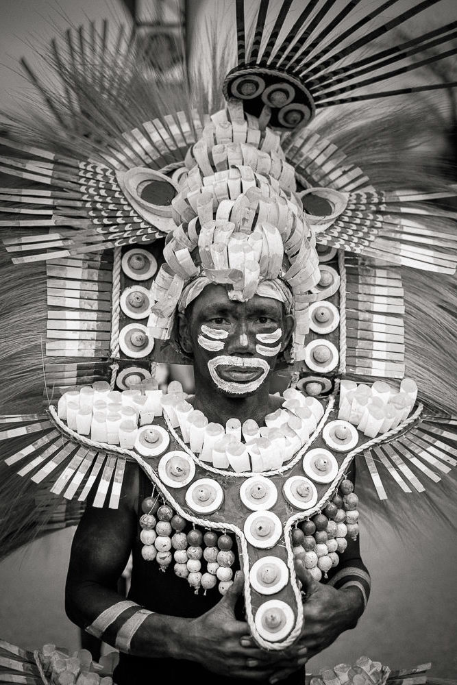Kalibo, Philippines, 17 January, 2015. A participant in the Ati-atihan parade wearing a hand-made-made costume made from natural and salvaged materials. Ati-Atihan festival in honor of Santo Niño takes place yearly in Kalibo, Aklan, Western Visayas, Philippines.