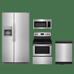 4 Piece Stainless Steel Kitchen Package Storage Cabinets Ikea Frigidaire