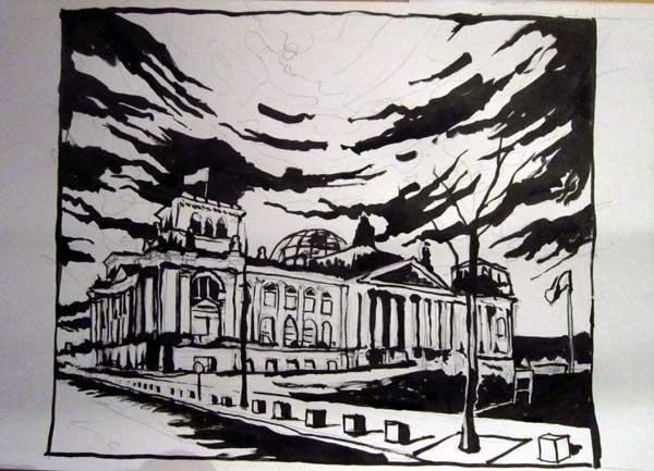 Reichstag, Pinselzeichnung
