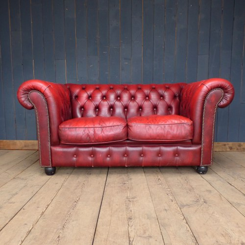 red leather two seater sofa creative bed chesterfield home furniture and decorative items reclaimed world