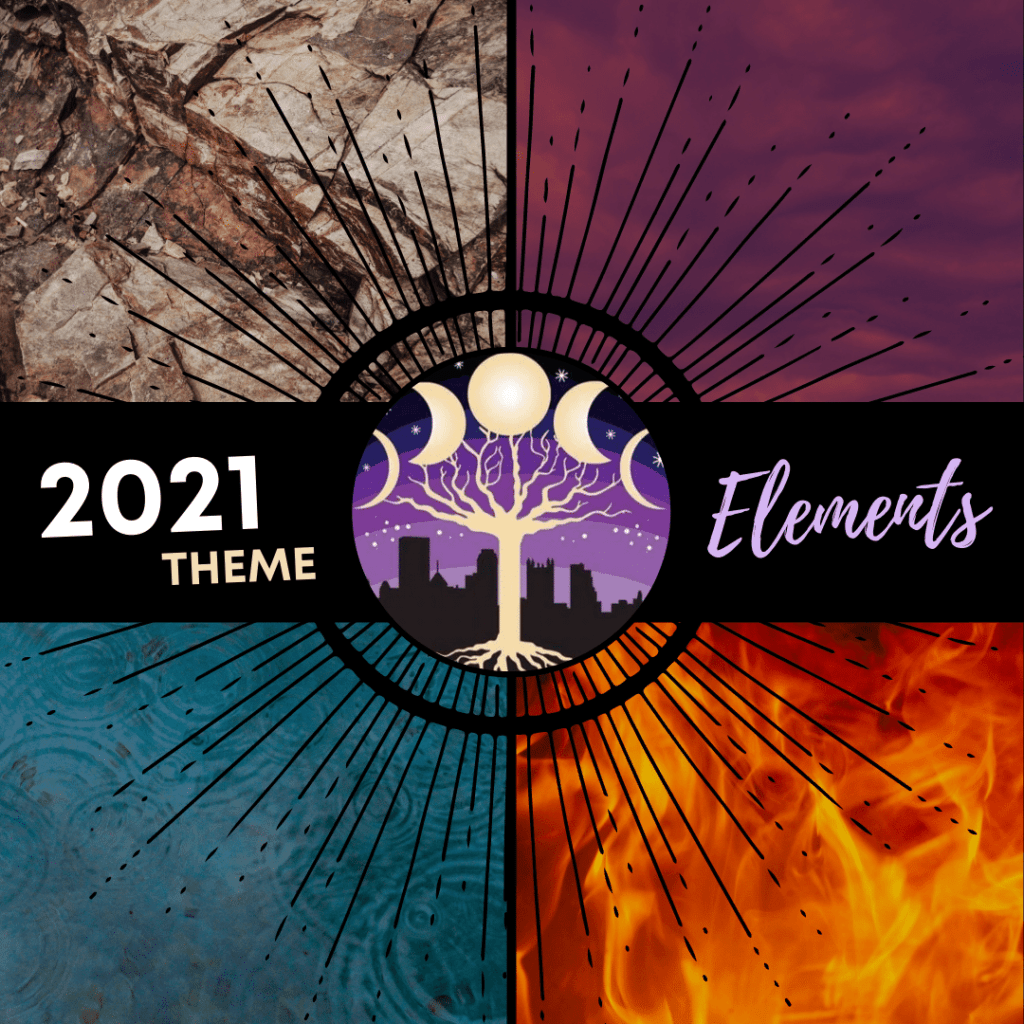 A bold showcase of the elements behind text that shares Reclaiming Pittsburgh's theme for 2021: The Elements! A jagged, brown boulder (top left), a breeze of purple clouds at sunset (top right), a blazing fire (bottom right) and tiny raindrops rippling in a pond (bottom left.)