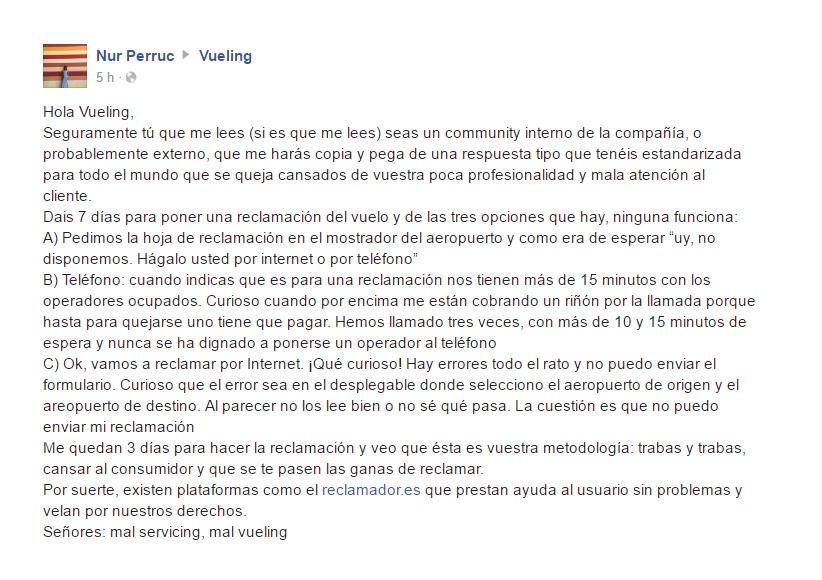 Queja de Nuria en en la red social de Facebook de Vueling el 9 de marzo