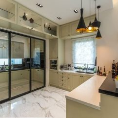 Modern Style Of Divider Counter In Living Room And Kitchen Design Ideas 14 Wet Dry Malaysian Homes Recommend Behind The Sliding Glass Doors Is Done Up Using A Dark Engineered Quartz Countertop With Simple Beige Floor Tiles For Easy Cleaning After