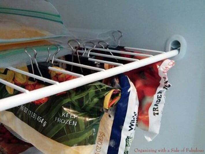 Use binder clips in your freezer