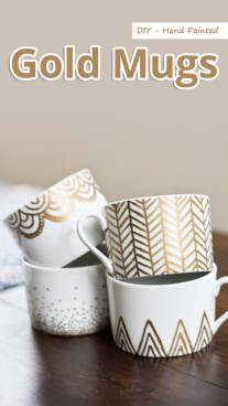 DIY - Hand Painted Gold Mugs