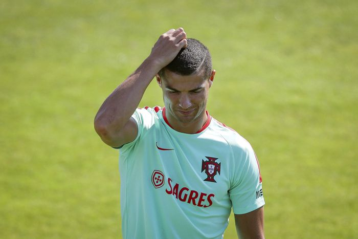 Cristiano, en un entrenamiento en Rusia con la selección de Portugal