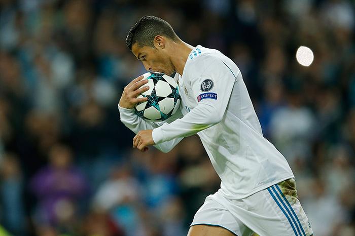 Cristiano, tras anotar un gol en la Champions