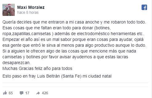 Denuncia de Maxi Moralez en redes sociales
