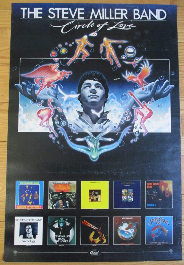 "MILLER, STEVE BAND Vintage 1981 ""CIRCLE OF LOVE"" Promo Poster 30"" x 20"""