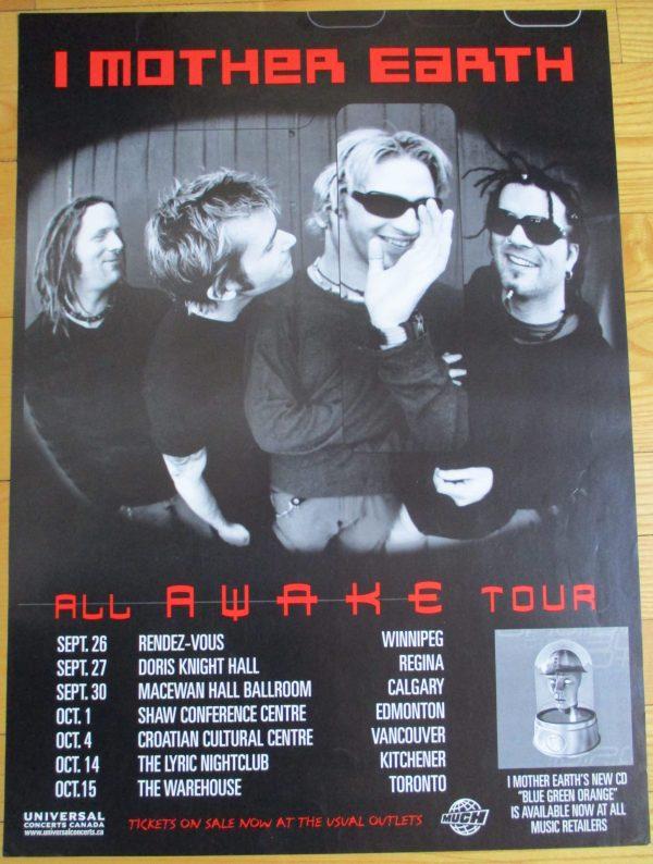 "I MOTHER EARTH Vintage Concert Tour Poster 1999 Original 23"" x 17"" RARE"