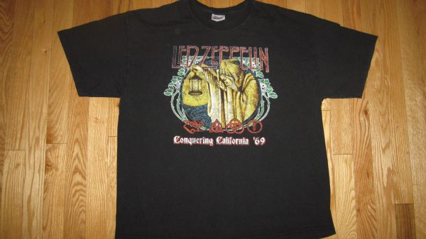LED ZEPPELIN CONQUERING CALIFORNIA '69 T-SHIRT XL