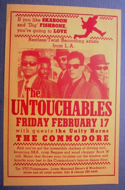 UNTOUCHABLES Concert GIG Tour Poster Vancouver Canada ORIGINAL