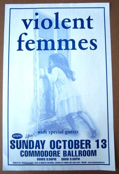 VIOLENT FEMMES Concert GIG Tour Poster Vancouver, Canada ORIGINAL
