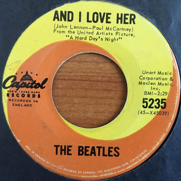 BEATLES, The – Canadian 45 RPM – 5235 – AND I LOVE HER / IF I FELL