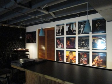 Vinyl record frames behind the bar