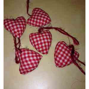 red and white checked fabric hearts