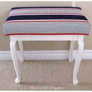 adding Annie Sloan Fabric over foam to turn a side table into a bench