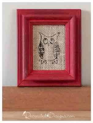 owl on burlap in a red frame