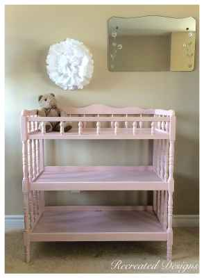 Pink Chalk Painted Change Table