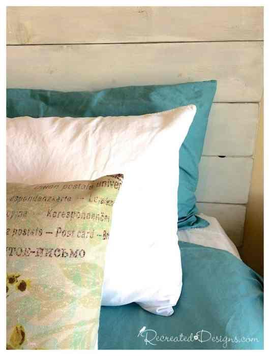 pillows again a DIY headboard painted white