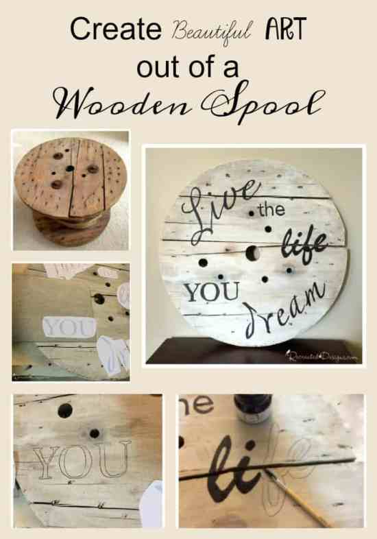 create beautiful art out of an old wooden spool