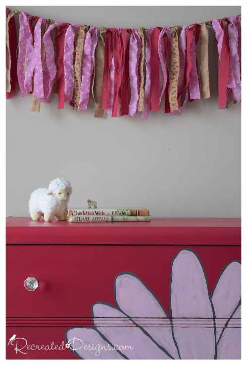 painted dresser and fabric bunting