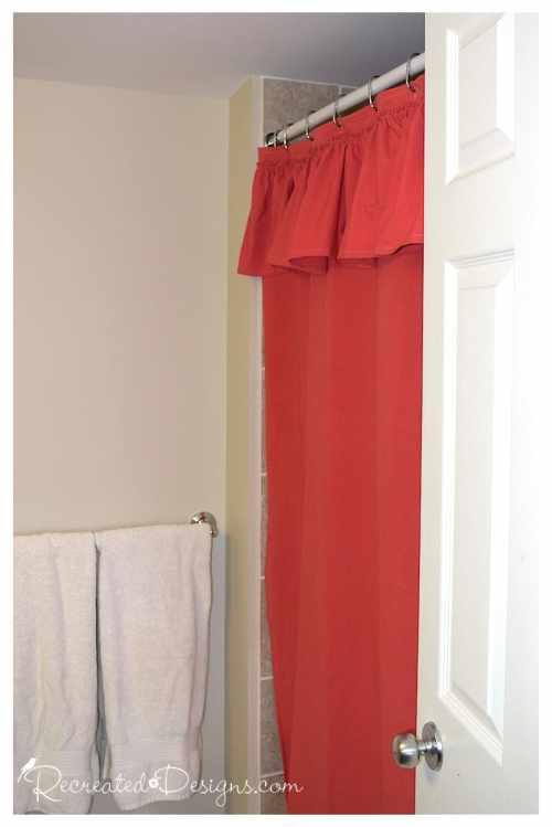 a bright DIY shower curtain