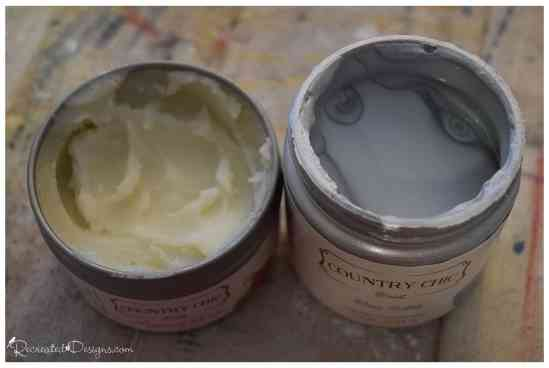 Country Chic paint Natural Wax and Silver Bullet metallic cream