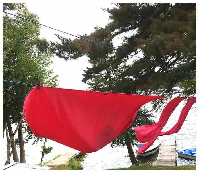 drying dyed fabric on a clothesline