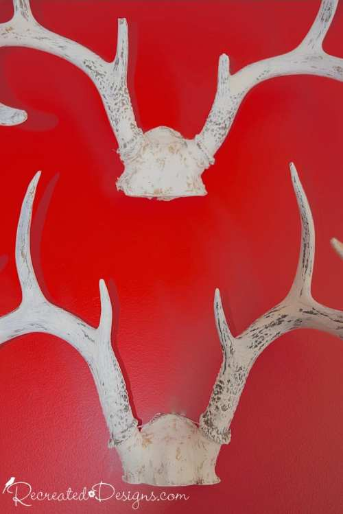 antlers painted white with Fusion Mineral Paint