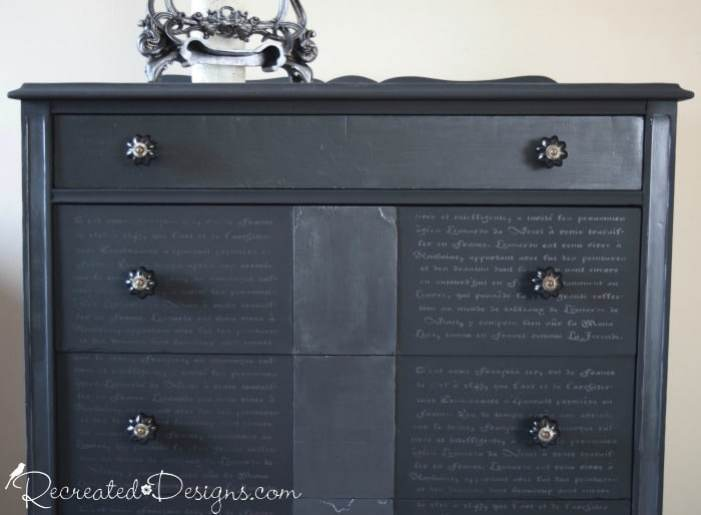 Black dresser with French Script