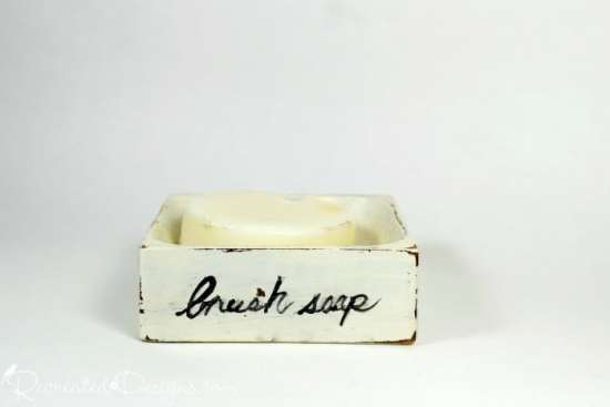 Miss Mustard Seed Brush Soap in a rustic soap box