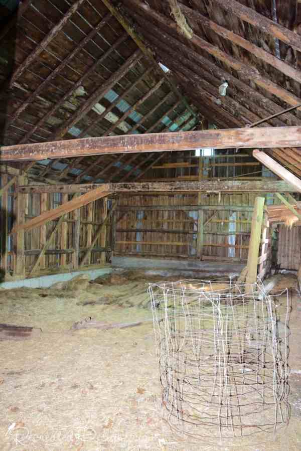 the inside of a hundred year old barn
