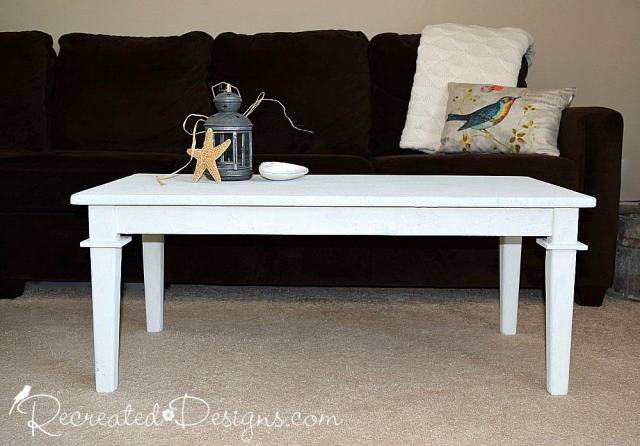 Coffee table that has been painted with Saltwash mixed with Miss Mustard Seed Milk Paint