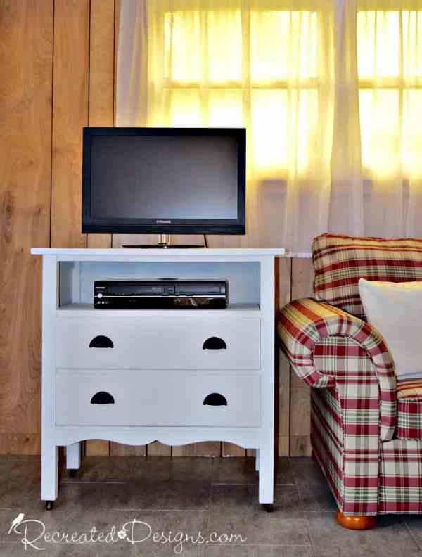 vintage dresser turned into a cottage TV stand