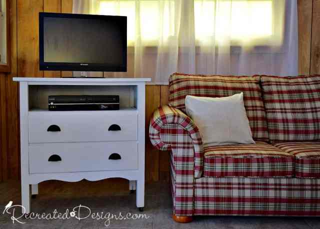vintage dresser turned into a cottage TV stand and media centre