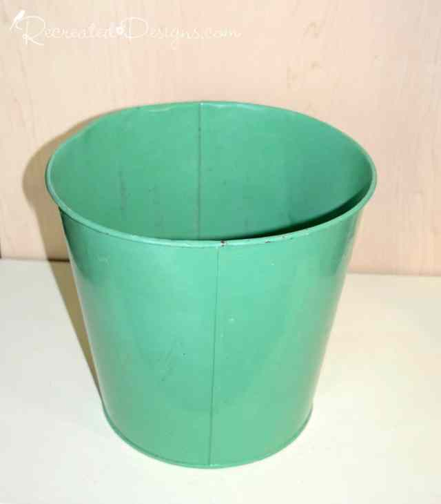 green, metal pail