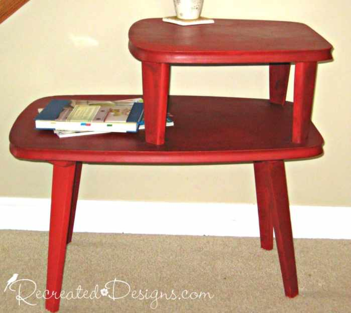 vintage side table painted in Annie Sloan Chalk paint Emperor's Silk